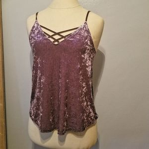 AEO Strappy Crushed Velvet tank